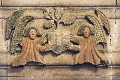 Two Angels Holding Coat of Arms--Photographic Print
