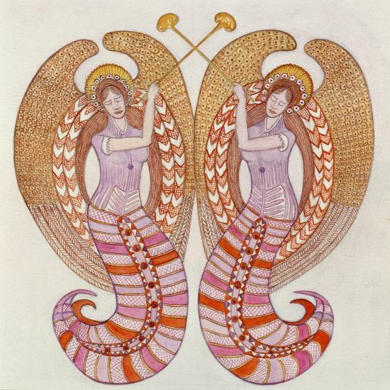Two angels with trumpets, 1995-Gillian Lawson-Giclee Print