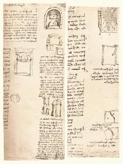 Two architectural drawings, c1472-c1519 (1883)-Leonardo da Vinci-Giclee Print