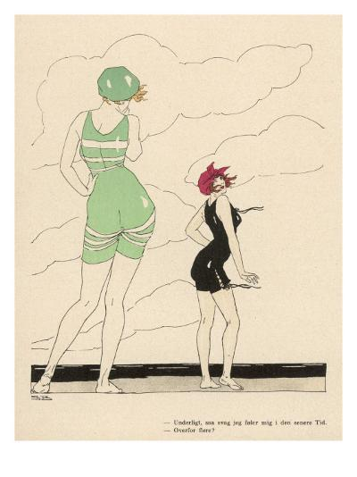 Two Attractive Bathers Pose on the Beach--Giclee Print