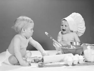 Two Babies With Mixing Bowls and Rolling Pins, One Wearing Chef's Hat, Flour on Faces-H^ Armstrong Roberts-Photographic Print