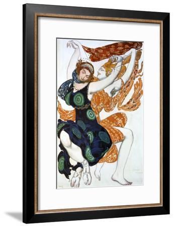 Two Bacchantes, Costume Design for a Ballets Russes Production of Tcherepnin's Narcisse, 1911-Leon Bakst-Framed Giclee Print
