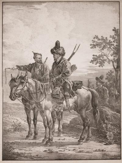 Two Bashkirs on Horseback; or Two Cossacks on Horseback, 1820-Alexander Orlowski-Giclee Print