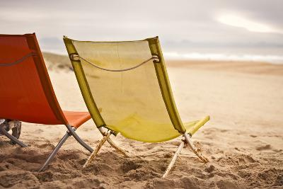 Two Beach Chairs with Spanish Coast in the Background in Plage Des Casernes, France-Axel Brunst-Photographic Print