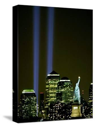 Two Beams of Light Light up the Sky Above Manhattan from Near the Site of the World Trade Center