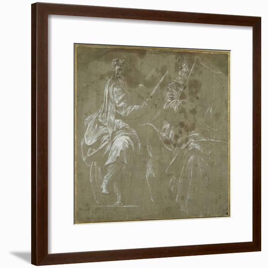 Two Bearded Prophets Seated, Holding Open Books- Polidoro da Caravaggio-Framed Giclee Print