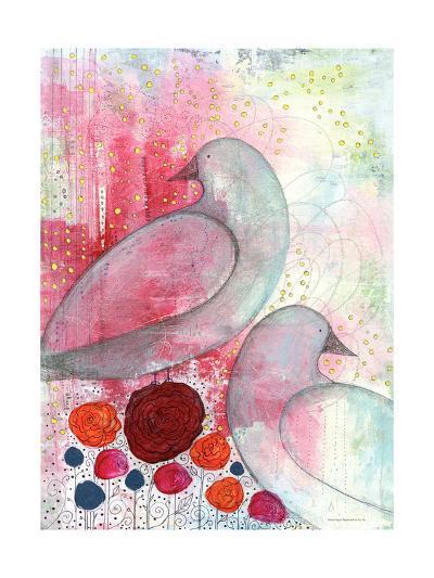 Two Birds in Fuschia-Sarah Ogren-Art Print