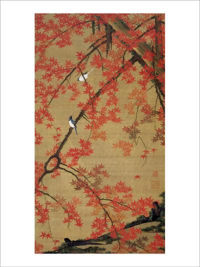 Two Birds Meet Up on the Maple Tree-Jyakuchu Ito-Giclee Print