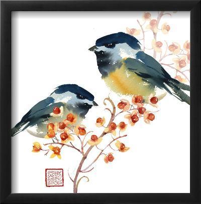 Two Birds on a Branch--Framed Art Print