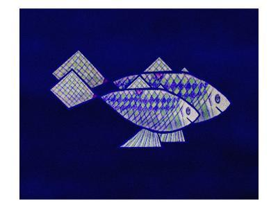 Two Blue and Green Happy Fish-Rich LaPenna-Giclee Print