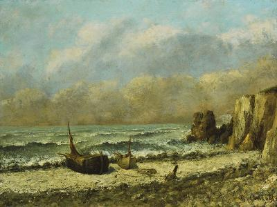 Two Boats on the Beach-Gustave Courbet-Giclee Print