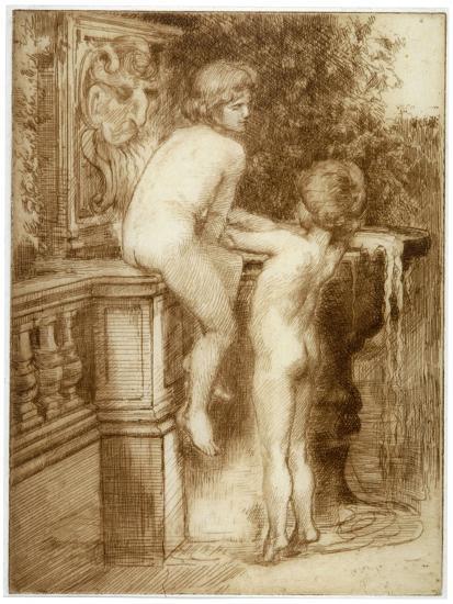 'Two Boys at a Water Fountain', c1864-1930-Anna Lea Merritt-Giclee Print