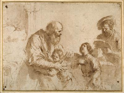 Two Boys Comforted by a Bearded Elder, While Another Bearded, Middle-Aged Man Reads a Book-Guercino (Giovanni Francesco Barbieri)-Giclee Print