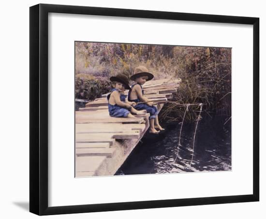 Two Boys Fishing Off of Bridge-Nora Hernandez-Framed Giclee Print