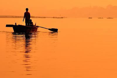 Two Boys in a Boat on the Ganges- itsmejust-Photographic Print