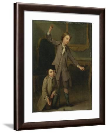 Two Boys of the Nollekens Family, Probably Joseph and John Joseph, Playing at Tops, 1745-Joseph Francis Nollekens-Framed Giclee Print