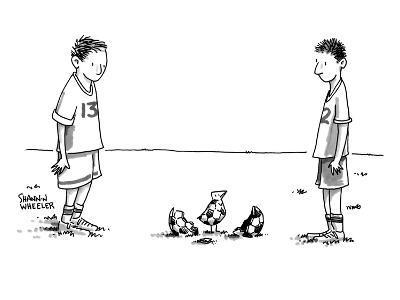 Two boys on a soccer team look down at the ground where a soccer ball patt? - New Yorker Cartoon-Shannon Wheeler-Premium Giclee Print