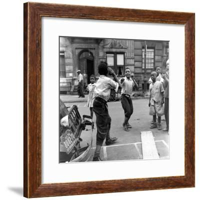 Two Boys Play-Fight While Other Children Look On, Harlem, 1938-Hansel Mieth-Framed Premium Photographic Print