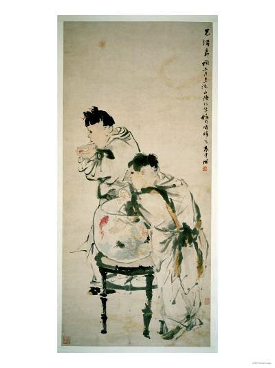 Two Boys Playing with Goldfish, Hanging Scroll, Ink and Colour on Paper, 1879-Wu Changshuo-Giclee Print