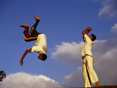 Two Boys Practice Capoeira, the Brazilian Martial Art-Camilla Watson-Photographic Print