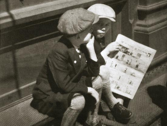 Two boys reading the comic section of the Sunday paper, New York, USA, 1931-Unknown-Photographic Print