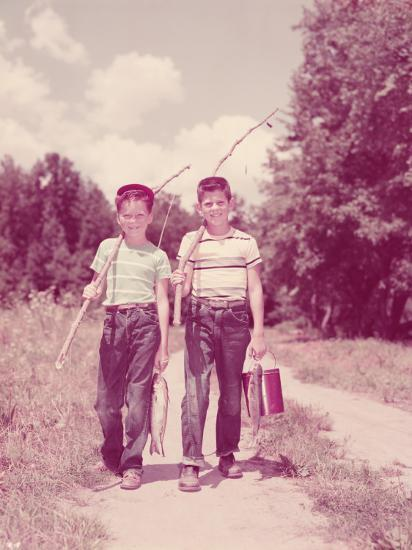 Two Boys Walking Down Lane, Carrying Twig Fishing Poles-H^ Armstrong Roberts-Photographic Print