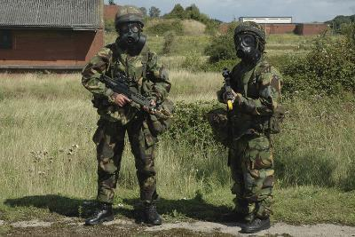 Two British Soldiers in Full NBC Protection Gear-Stocktrek Images-Photographic Print