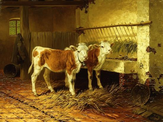 Two Calves in a Barn-Walter Hunt-Giclee Print