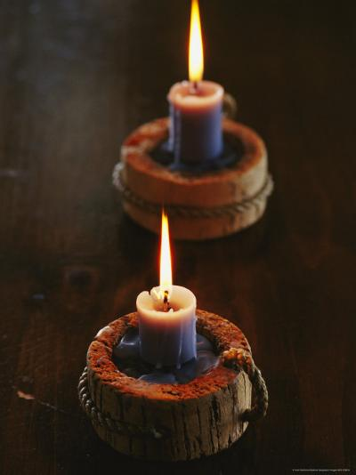 Two Candles in Rustic Candlesticks-Vlad Kharitonov-Photographic Print