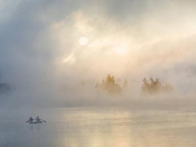 Two Canoers Paddling, Cranberry Lake, Adirondack State Park, New York, USA-Charles Sleicher-Photographic Print