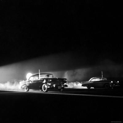 Two Cars in Drag Race-Hank Walker-Photographic Print