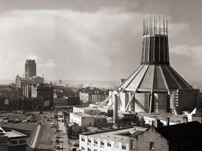 Two Cathedrals, Anglican and Catholic, Liverpool, March 1967--Photographic Print