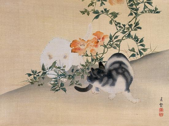 Two Cats, Illustration from 'The Kokka' Magazine, 1898-99-Japanese School-Giclee Print
