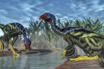 Two Caudipteryx Dinosaurs Drinking from a River-Stocktrek Images-Art Print