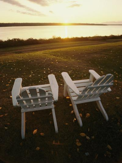Two Chairs in the Sunlight at Chesuncook Lake in Maine--Photographic Print
