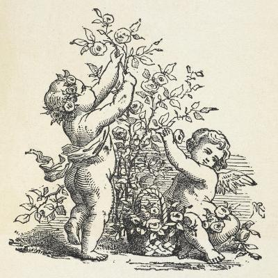 Two Cherubs With a Rose Bush--Giclee Print