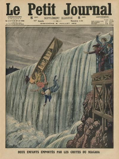 Two Children Carried Along by the Niagara Falls-French-Giclee Print