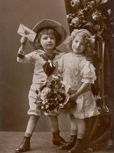 Two Children Carry a Love Letter, To My Little Sweetheart--Photographic Print