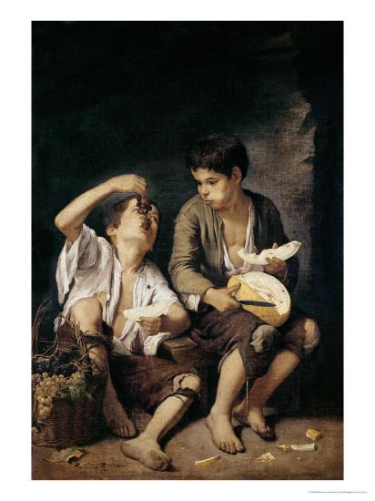Two Children Eating a Melon and Grapes, 1645-46-Bartolome Esteban Murillo-Giclee Print