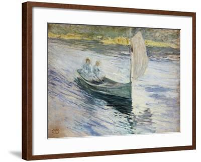 Two Children in a Sailboat, 1883-John Henry Twachtman-Framed Giclee Print