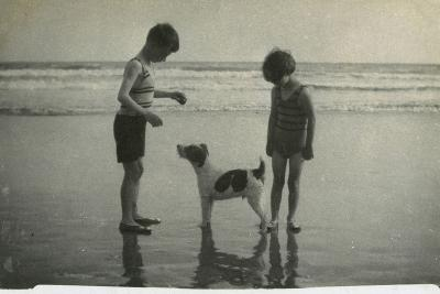 Two Children on Beach with Dog--Photographic Print