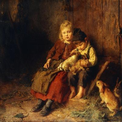Two Children Playing with Rabbits-Felix Schlesinger-Giclee Print