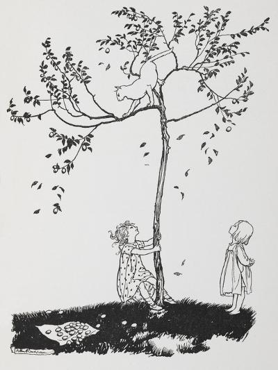 Two Children Try To Get a Cat Down From a Tree-Arthur Rackham-Giclee Print