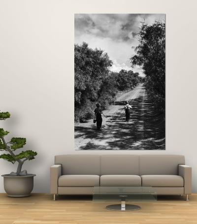 Two Children Walking Down a Dirt Road Going Fishing on a Summer Day-John Dominis-Wall Mural