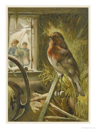 Two Children Watch a Robin the Barn Who is Standing on One Leg-John Lawson-Giclee Print