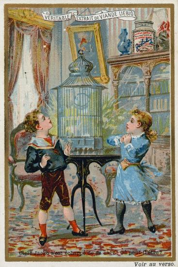 Two Children Wondering Where their Pet Caged Bird Has Escaped To--Giclee Print