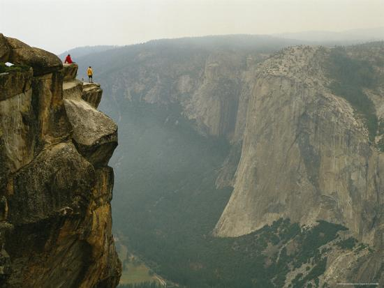 Two Climbers Take in the View of Yosemite Valley from Taft Point-Bill Hatcher-Photographic Print