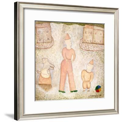 Two Clowns and Houses, 1988-George Fredericks-Framed Giclee Print