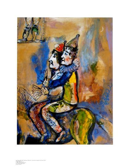 Two Clowns on a Horse-Back-Marc Chagall-Art Print