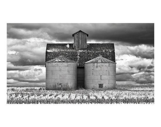 Two Corn Cribs-Trent Foltz-Art Print
